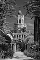 Black and white version of the Lerins Abbey, Cannes, France image